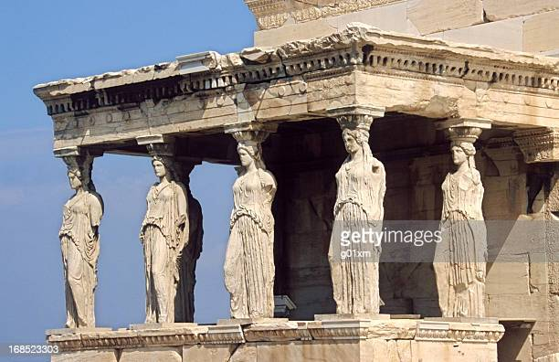 caryatid in acropolis, athens - roman goddess stock pictures, royalty-free photos & images