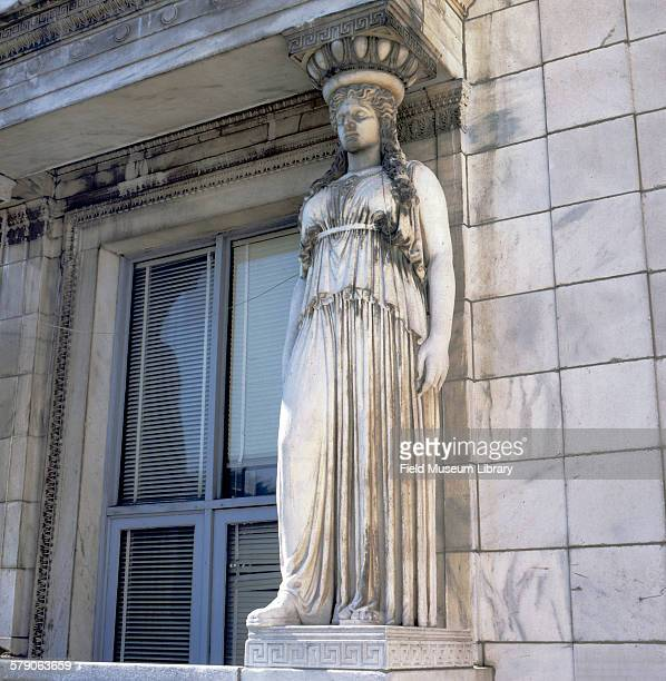 Caryatid statue on exterior outside of Field Museum showing erosion damage from Acid Rain. Artist Henry Hering.
