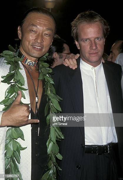 """Cary-Hiroyuki Tagawa and Christopher Lambert during """"Mortal Kombat"""" Los Angeles Premiere at Mann's Chinese Theatre in Hollywood, California, United..."""