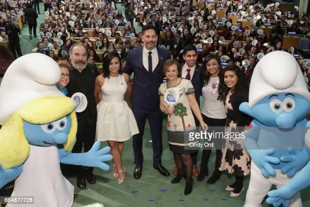 Caryl M Stern Mandy Patinkin Demi Lovato Joe Manganiello Cristina Gallach Karan Jerath Sarina Divan and Noor Samee pose onstage at the United Nations...