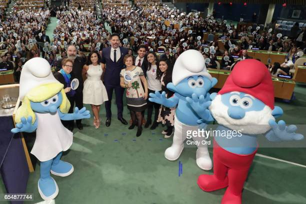 Caryl M Stern Mandy Patinkin Demi Lovato Joe Manganiello Cristina Gallach Karan Jerath Sarina Divan and Noor Samee pose onstage at the United Nations...