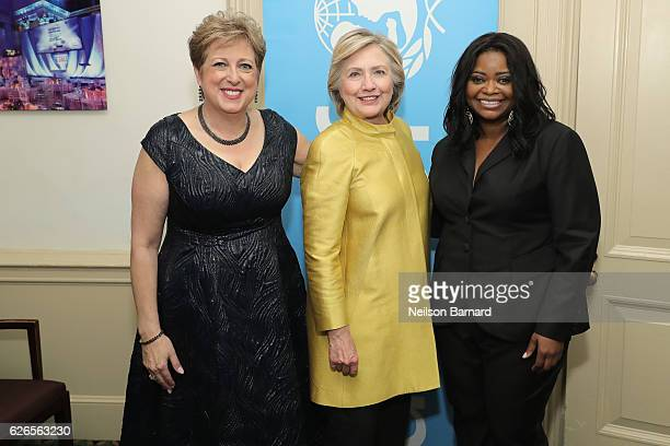 Caryl Stern Hillary Clinton and Octavia Spencer attend the 12th annual UNICEF Snowflake Ball at Cipriani Wall Street on November 29 2016 in New York...