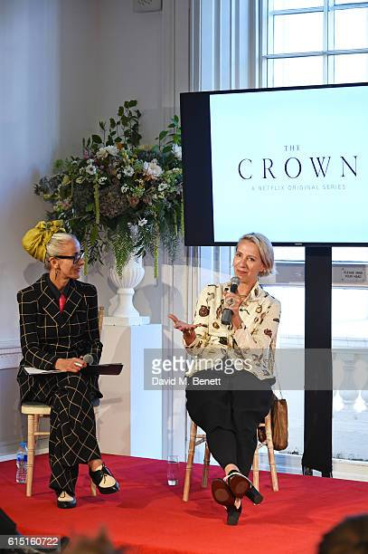 Caryn Franklin and Michele Clapton speak at a presentation featuring costumes from new Netflix Original series The Crown with designer Michele...