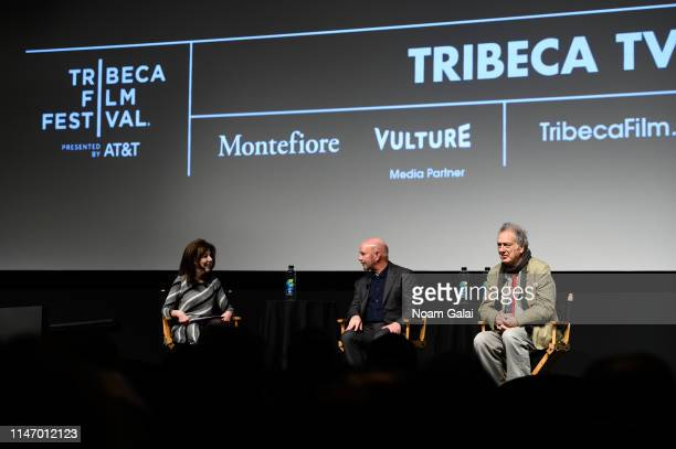 Caryn James Nick Hornby and Stephen Frears attend the 'State Of The Union' screening during the 2019 Tribeca Film Festival at SVA Theater on May 04...