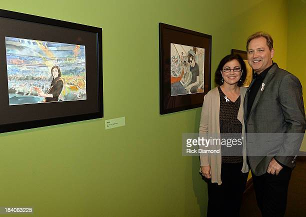 Caryn Wariner and Painter/Singer/Songwriter Steve Wariner present Wariner's Watercolors during the Three Part Harmony preview private reception...