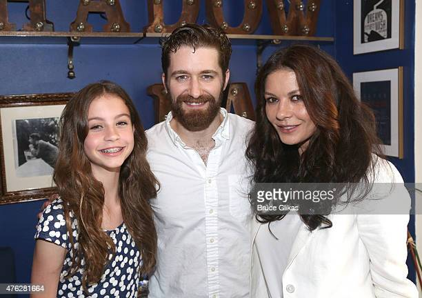 Carys Douglas Matthew Morrison and Catherine Zeta Jones pose backstage at the hit musical Finding Neverland on Broadway at the Lunt Fontanne Theater...