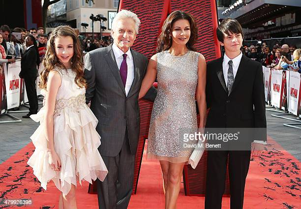 Carys Douglas Michael Douglas Catherine Zeta Jones and Dylan Douglas attend the European Premiere of Marvel's AntMan at Odeon Leicester Square on...