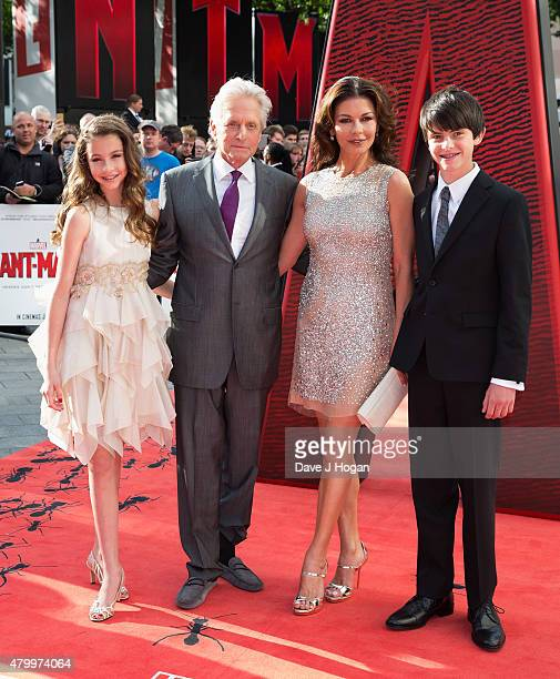Carys DouglasMichael Douglas Catherine ZetaJones and son Dylan Douglas attend the European premiere of Marvel's 'AntMan' at Odeon Leicester Square on...