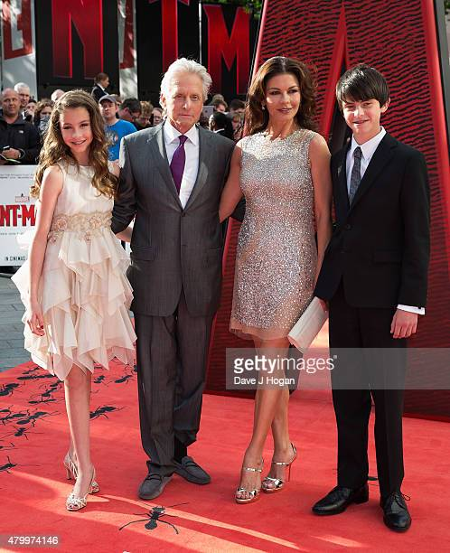Carys DouglasMichael Douglas Catherine ZetaJones and son Dylan Douglas attend the European premiere of Marvel's AntMan at Odeon Leicester Square on...