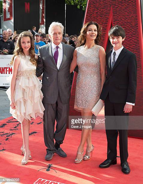 Carys DouglasMichael DouglasCatherine Zeta Jones and Dylan Douglas attend the European Premiere of Marvel's AntMan at Odeon Leicester Square on July...