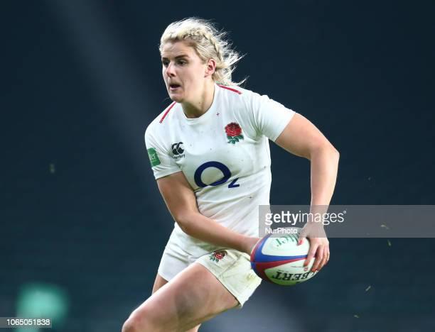 Carys Williams of England Women during Quilter International between England Women and Ireland Womenat Twickenham stadium London England on 24 Nov...