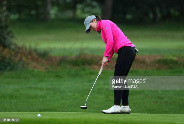 Carys Worby in action duirng the first round of the Girls' U16 Open Championship at Fulford Golf Club on April 27 2018 in York England
