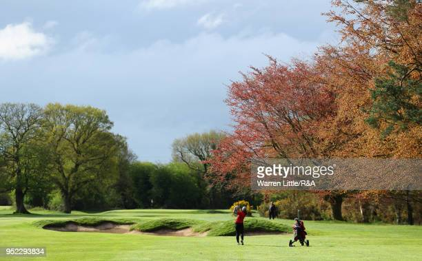 Carys Worby plays her second shot into the fourth green during the second round of the Girls' U16 Open Championship at Fulford Golf Club on April 28...