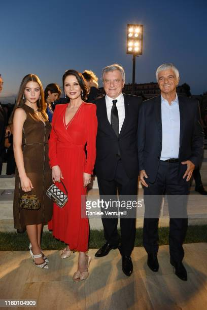 Carys Zeta Douglas Catherine Zeta Jones Sidney Toledano and Antonio Belloni attend the Fendi Couture Fall Winter 2019/2020 Show on July 04 2019 in...