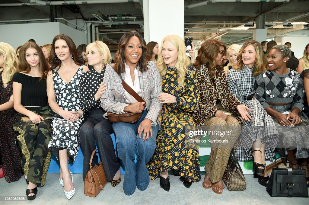 Carys Zeta Douglas, Catherine Zeta-Jones, Judith Light, Tiffany Haddish, Nicole Kidman, Iman, Rose Byrne, and Cynthia Erivo attend the Michael Kors Collection Spring 2019 Runway Show at Pier 17 on September 12, 2018 in New York City.