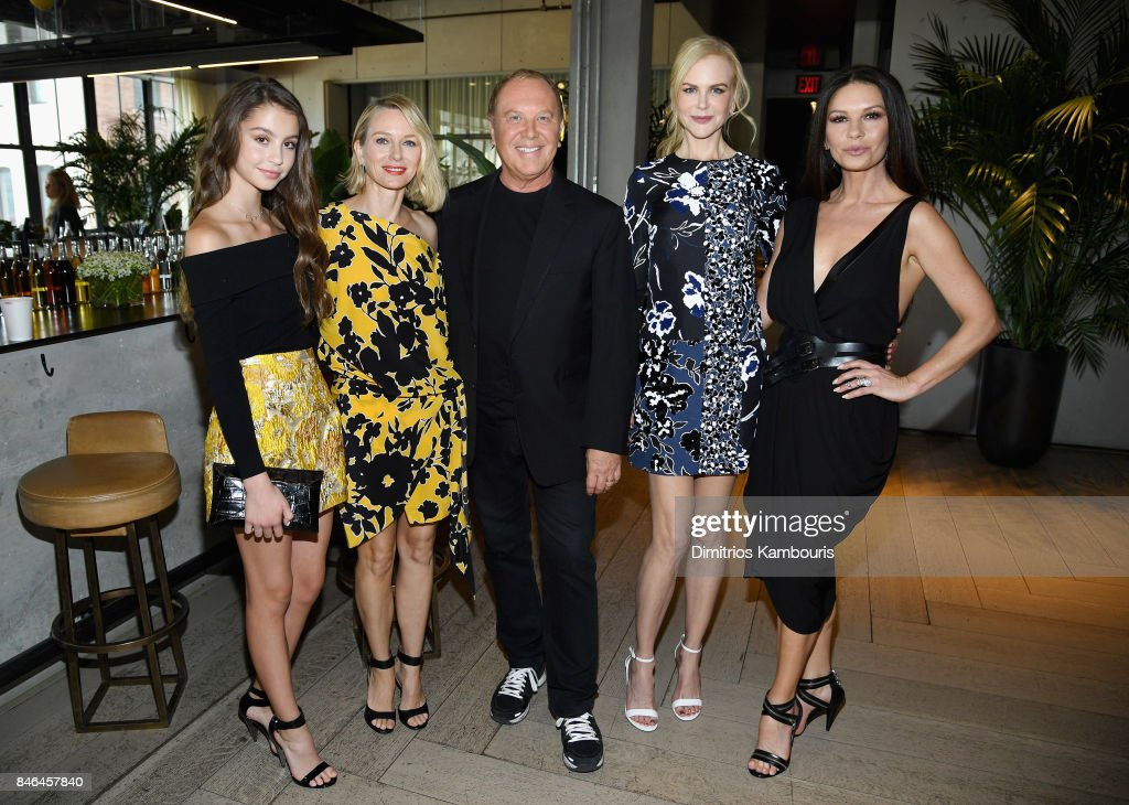 Carys Zeta Douglas, Naomi Watts, Michael Kors, Nicole Kidman and Catherine Zeta-Jones pose backstage at Michael Kors Collection Spring 2018 Runway Show at Spring Studios on September 13, 2017 in New York City.