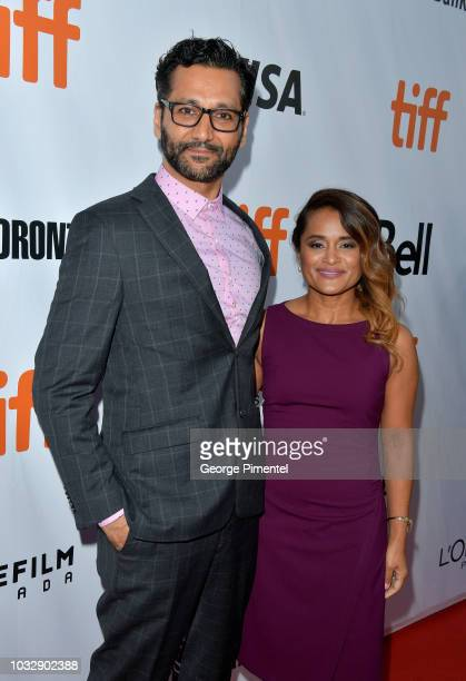 Cas Anvar and Veena Sud attend the 'The Lie' premiere during 2018 Toronto International Film Festival at Roy Thomson Hall on September 13 2018 in...