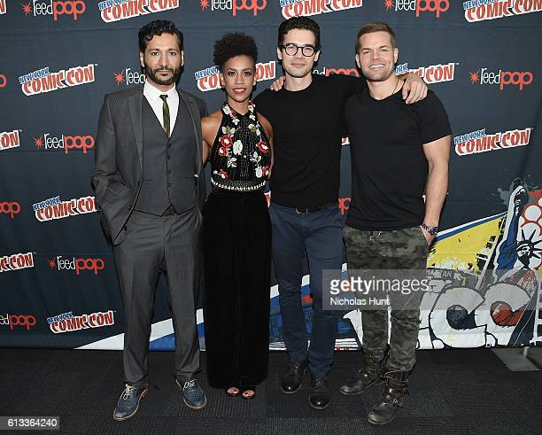Cas Anvar Dominique Tipper Steven Strait and Wes Chatham attend The Expanese photo op during the 2016 New York Comic Con on October 8 2016 in New...