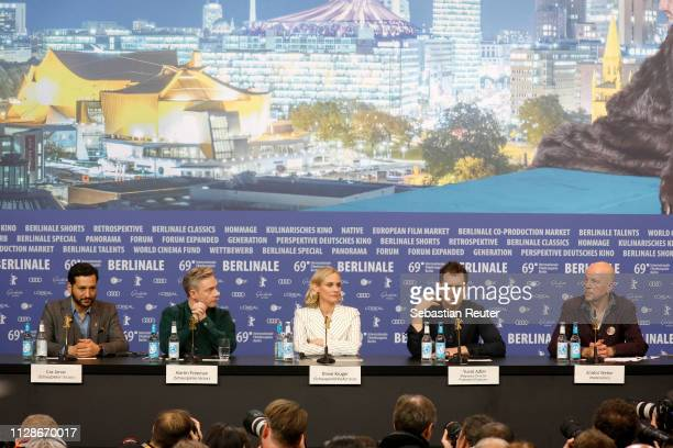 Cas Anvar Martin Freeman Diane Kruger Yuval Adler and Anatol Weber are seen at the The Operative press conference during the 69th Berlinale...