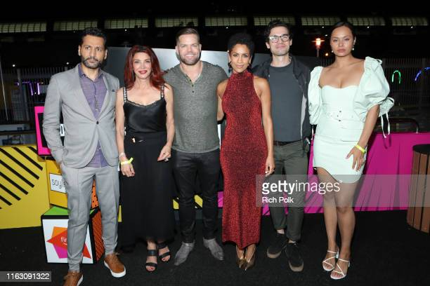 Cas Anvar Shohreh Aghdashloo Wes Chatham Dominique Tipper Steven Strait and Frankie Adams attends the #IMDboat Party presented by Soylent and Fire TV...
