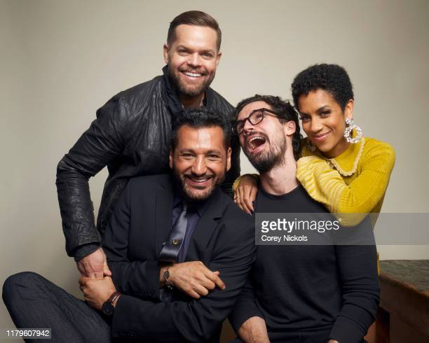 """Cas Anvar, Wes Chatham, Steven Strait and Dominique Tipper of """"The Expanse"""" poses for a portrait during 2019 New York Comic Con at Jacob K. Javits..."""