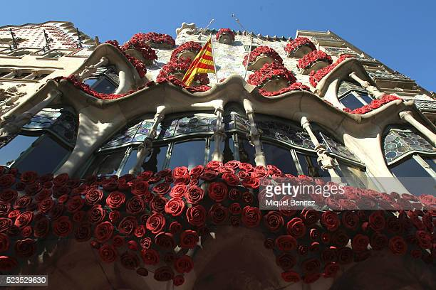 Casa Batllo antoni Gaudi's building decorated with roses by the charitable cause for 'Arrels' during 'Sant Jordi's Day' 'Saint George's Day' at...