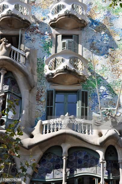 Casa Batllo of Antoni Gaudi. Passeig de Gracia. Barcelona. Spain. Europe.