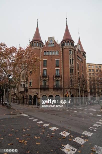 Casa de les Punxes Building across the street, Barcelona, Spain