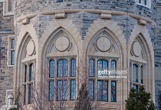Casa Loma Gothic Revival Architecture Detail: Windows in the tower, a detail of the exterior of an ancient castle.