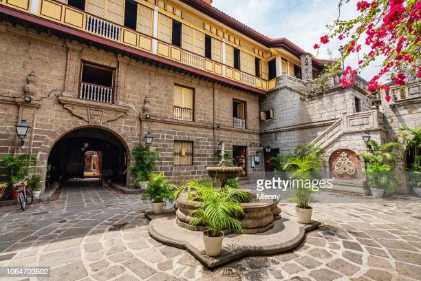 casa manila intramuros patio with fountain philippines - manila stock pictures, royalty-free photos & images
