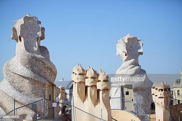 Casa Mila chimneys in Barcelona. Catalonia. Spain.