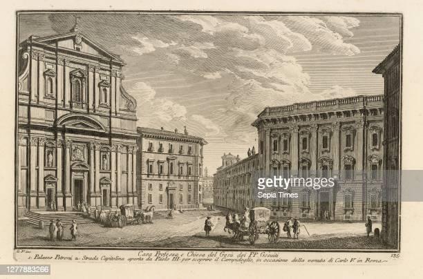 Casa professa, e chiesa del Gesù dei PP. Gesuiti, Delle magnificenze di Roma antica e moderna, Vasi, Giuseppe, 1710-1782, Etching, between 1747 and...
