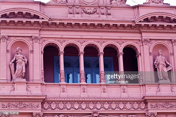 The ornate pink columned Presidential Balcony of the Casa Rosada.