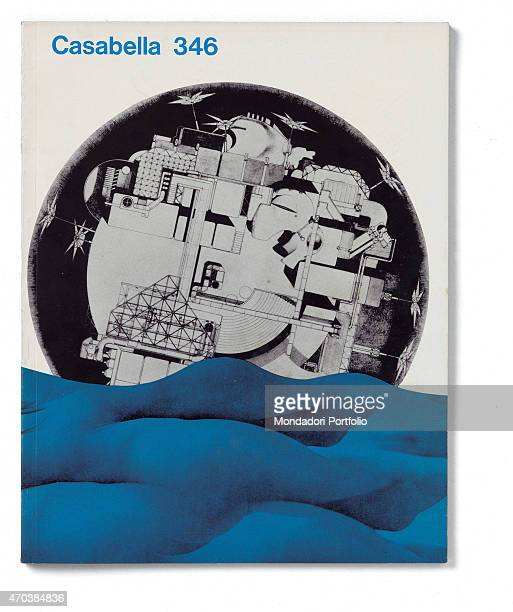 """Casabella, No. 346, March 1970, 20th century, Arnoldo Mondadori Editore, Milan, 24.5 x 31 cm. Whole artwork view. At the bottom of the blue waves on..."