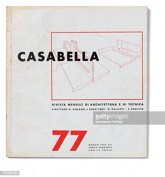 Casabella No 77 May 1934 XII 20th Century Arnoldo Mondadori Editore Milan 28 x 31 cm Whole artwork view On a white background in a bpx axonometric...