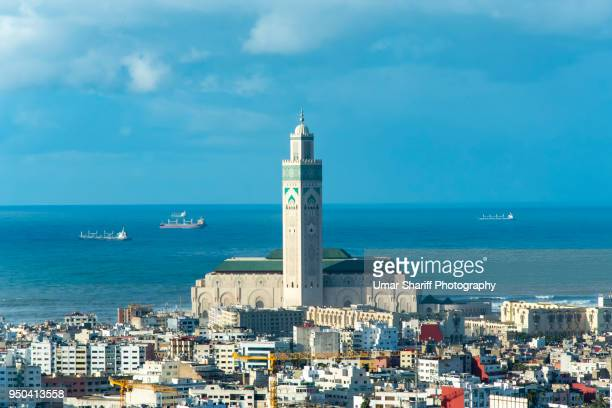 casablanca city - mosque hassan ii stock photos and pictures