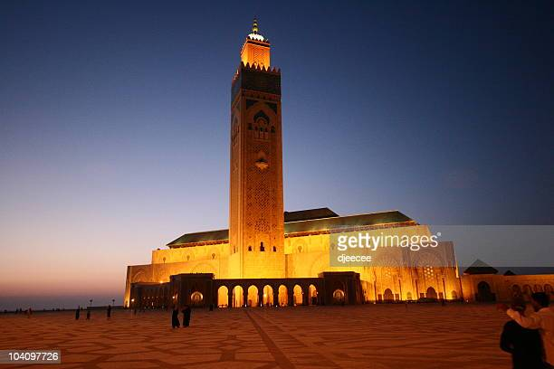 casablanca grand mosque at night #1 - sousse stock pictures, royalty-free photos & images