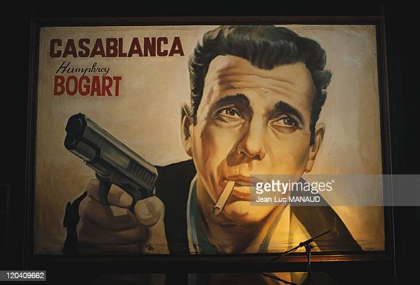 Casablanca Morocco in January 2006 Poster of the famous movie Casablanca starring American actor Humpfrey Bogart