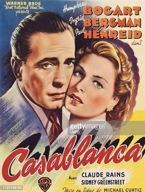 Casablanca, poster, from left: Humphrey Bogart, Ingrid Bergman on 1947.