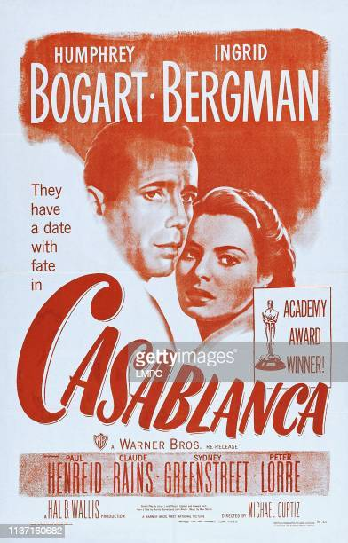 Casablanca, poster, from left: Humphrey Bogart, Ingrid Bergman on 1949.