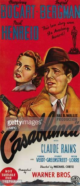 Casablanca, poster, from left: Ingrid Bergman, Humphrey Bogart on 1940s.
