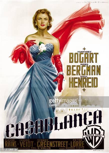 Casablanca, poster, Italian poster art, Ingrid Bergman, 1942.