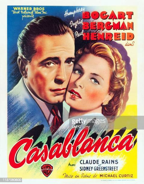 Casablanca, poster, l-r: Humphrey Bogart, Ingrid Bergman on US window card, 1942.