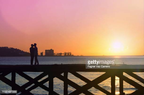 Casal homesexual masculino no horizinte ao pôr do sol