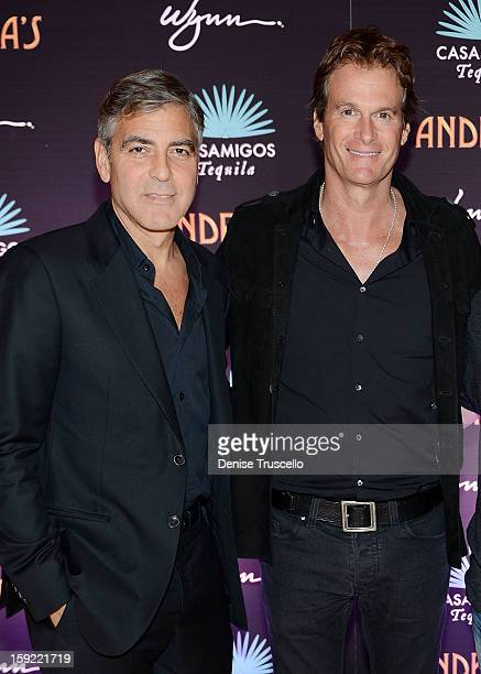 Casamigos Tequila founders George Clooney and Rande Gerber celebrate the launch of Casamigos at Andrea's at Encore Las Vegas on January 9 2013 in Las...