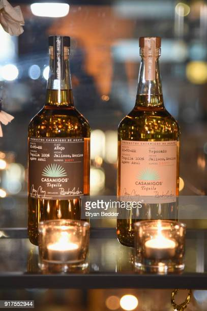 Casamigos Tequla on display in the Etihad Airways VIP Lounge at NYFW The Show at IMG NYFW The Shows LOBBY on February 12 2018 in New York City