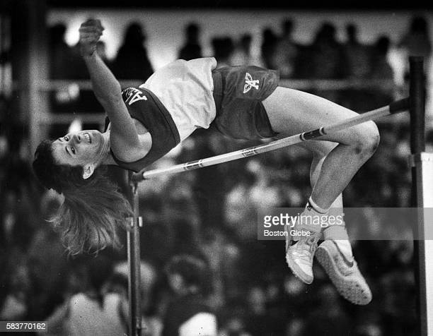 Casandra Wheeler wins the class C high jump at the state indoor track and field meet at Harvard University in Cambridge Mass on Feb 15 1987
