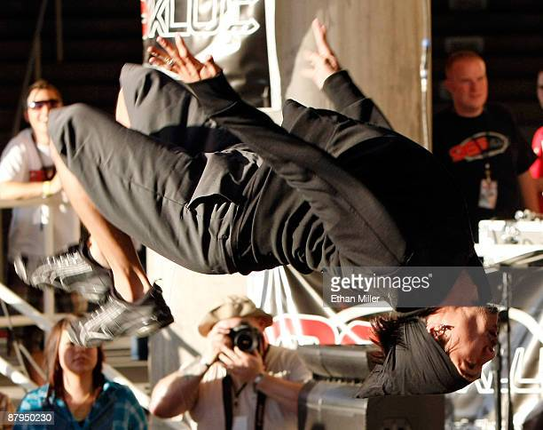 Casanova does a backflip while performing with rap duo HardNox during 985 KLUC's Summer Jam 2009 concert at the Henderson Pavilion May 23 2009 in...