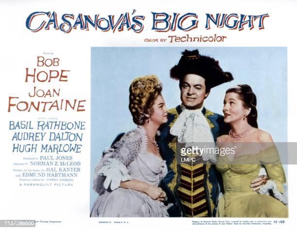 Casanova's Big Night lobbycard from left Audrey Dalton Bob Hope Joan Fontaine 1954
