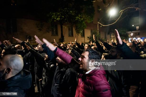 Casapound farright wing militants do the Nazi salute in front of former MSI party branch during the 41st anniversary of Acca Larentia killings in...